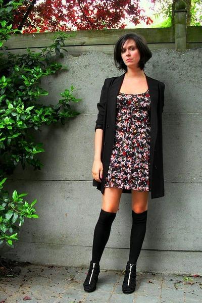 red dress - black blazer - black socks - black shoes