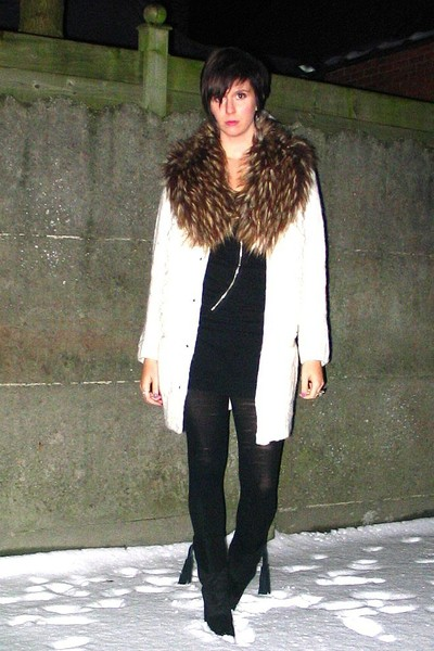 white sweater - black dress - boots - silver accessories