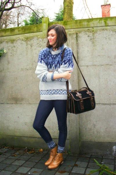 black bag - bronze shoes - camel coat - black jacket - periwinkle sweater