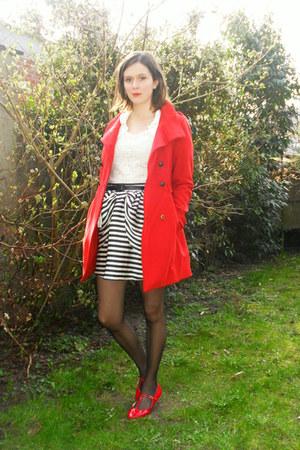 red coat - navy skirt