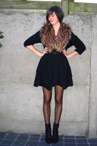 black dress - black cardigan - brown accessories - black tights - black belt - b