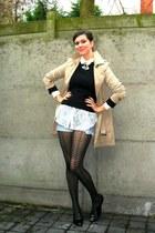 black shoes - camel coat - black sweater - black tights - sky blue shorts