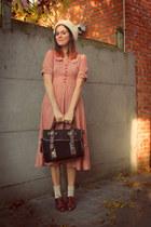 light orange dress - dark brown shoes - navy coat - cream hat
