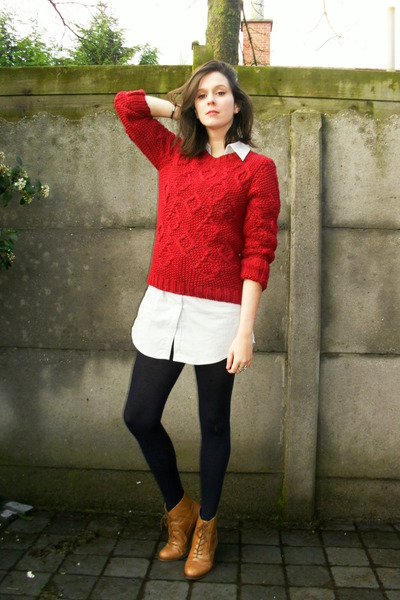 bronze boots - periwinkle dress - ruby red sweater - navy tights