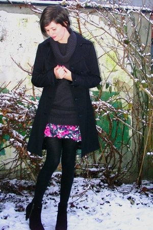 black coat - black boots - pink skirt - black tights - gray sweater