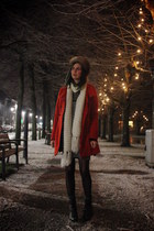 black boots - heather gray dress - red coat