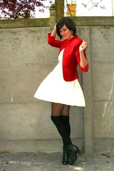 Black Tights, Black Boots, White Dresses, Red Jackets, Black Socks ...