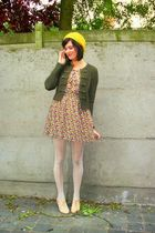 yellow dress - beige shoes - yellow hat - white tights - green cardigan