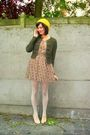 Green-cardigan-yellow-dress-beige-shoes-white-tights-yellow-hat