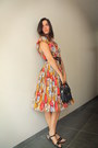 Orange-dress-periwinkle-accessories-black-sandals-ruby-red-accessories-d