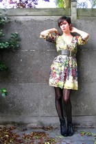 H&M dress - Pimkie belt - Pimkie tights - Pimkie boots