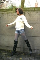 ivory sweater - blue shorts - black boots - silver tights - navy coat - magenta