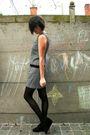 Gray-dress-pink-cardigan-black-tights-black-shoes-white-coat