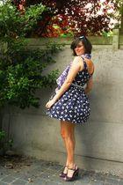 blue dress - purple shoes - purple scarf - blue belt