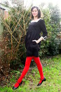 black dress - red tights - black flats - cream flower headband accessories