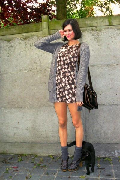 gray socks - brown shoes - brown dress - black - gray cardigan