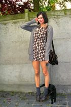gray socks - brown shoes - brown dress - black - gray cardigan