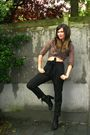 Black-pants-brown-blouse-brown-scarf-black-boots