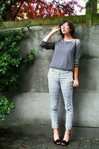 white pants - gray sweater - white coat