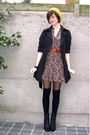 Brown-dress-black-boots-black-socks-black-coat-yellow-hat-brown-belt