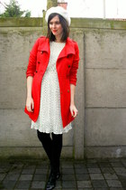 black boots - ivory dress - red coat - ivory hat - black tights