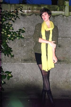 green sweater - black skirt - black boots - yellow scarf