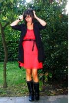 Zara dress - Pimkie coat - Pimkie belt - Pimkie boots - COS bracelet - H&M socks