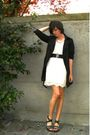 White-dress-black-belt-black-shoes-black-coat