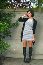 black boots - white dress - black cardigan