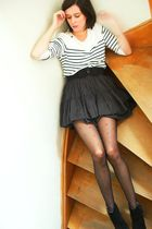 white sweater - gray skirt - black belt - black boots - red tights