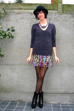 pink dress - gray sweater - black boots - blue necklace - black hat