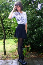 Zara t-shirt - Pimkie skirt - tights - new look boots