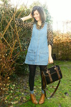 sky blue dress - black blouse - black tights - sky blue socks - bronze shoes - b