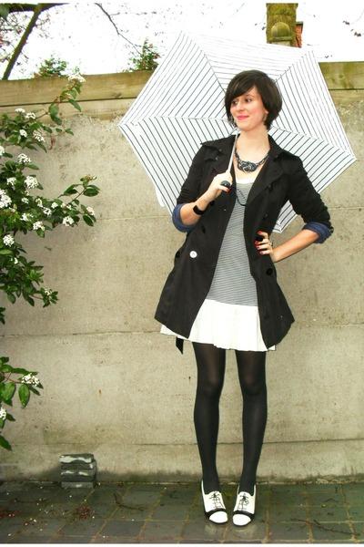 blue dress - white shoes - black coat - blue necklace - blue cardigan