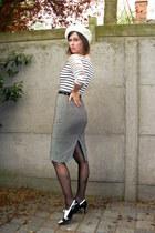black shoes - beige coat - white top - gray skirt