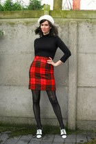 ivory hat - black tights - red skirt - white heels - black top