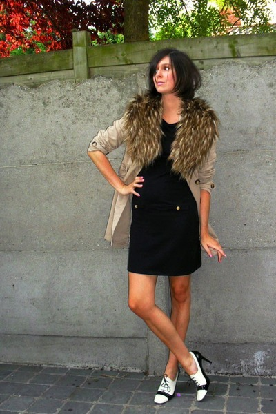 brown scarf - white shoes - black dress - beige coat