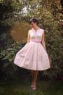 Light-pink-dress-bubble-gum-scarf-brown-bag-ivory-flats