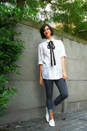 white blouse - blue pants - white shoes