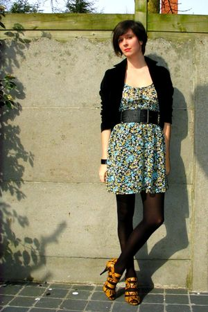 yellow Zara shoes - blue Zara dress - black H&M blazer - black COS bracelet - bl
