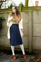 cream coat - periwinkle tights - bronze scarf - tawny heels - navy skirt - ivory