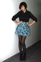 gray sweater - blue skirt - black tights - black boots - silver accessories