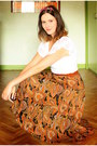 White-worn-as-top-dress-brown-wedges-tawny-skirt-maroon-accessories