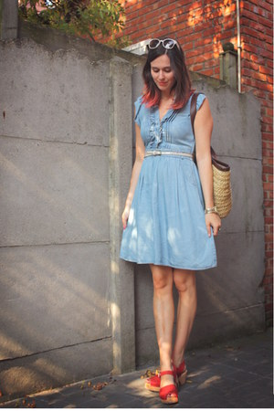 sky blue dress - red clogs - cream accessories