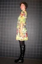 gold dress - black boots - black tights - black coat