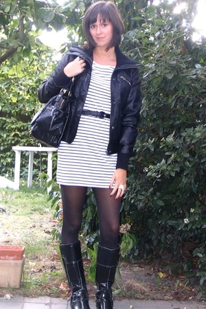 jacket - dress - boots - tights - accessories
