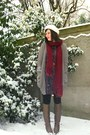 Deep-purple-dress-maroon-scarf-light-brown-boots-tawny-belt-light-brown-