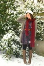 Deep-purple-dress-maroon-scarf-light-brown-boots-tawny-belt-light-brown-