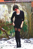 black ankle boots - black lace dress - black heart dotted tights - black socks