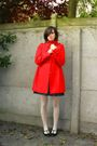 Red-coat-blue-dress-white-tights-black-shoes